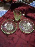Urán zöld kristály tányér és keresztelő kancsó