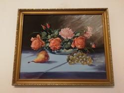 Szemet gyönyörködtető, szignózott  antik csendélet festmény - 1 forintról, minimálár nélkül!