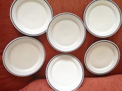 Retro Alföldi lapos tányérok kék csíkkal 6 db
