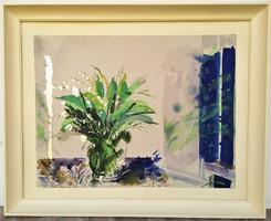 Záborszky Viola (1935 - 2008) Gyöngyvirág c Képcsarnokos festménye 79x64cm Eredeti Garanciával !