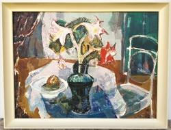 Szilvásy Pál (1920 - 1996) Csendélet c Képcsarnokos olajfestménye 86x66cm Eredeti Garanciával