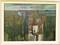 Nagy Tibold (1923 - 1988) Vízparti táj c Képcsarnokos olajfestménye 86x63cm Eredeti Garanciával !
