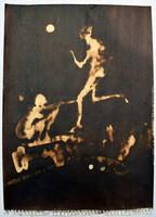 Modern festmény akvarell paca emberek figurák 33 x 24 cm