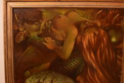 Rádoczy Gyarmathy Gábor 50x60-as katalógusos festmény( Dul király lányainak elrablása )