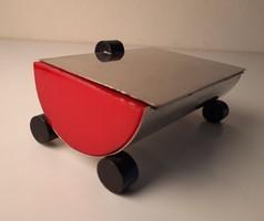Art Deco krómozott réz és bakelit doboz, asztaldísz
