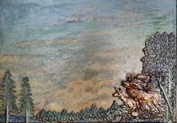 Különös festmény. Fára festve, Az őzpár, a fák, bokrok, külön lettek rá erősítve a képre.