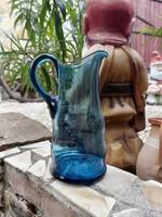 Kék 25 cm magas Gyönyörű csiszolt üveg kancsó,  vizeskancsó, Gyűjtői szépség