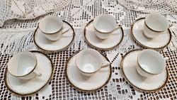 EPIAG porcelán. Régi. 6 kávés csésze, 6 csészealj.