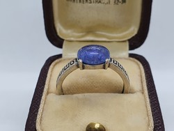 2.08Cts Tanzanit Köves Állítható Méretű Ezüst Gyűrű