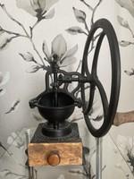 Antik öntöttvas kávédaráló, szatócsbolti daráló
