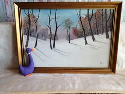 21177A1 Horváth József téli tájkép festmény olaj + vászon