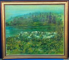 Szürke Szarvasmarhák a mezőn, Ismeretlen festőművész alkotása