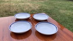 Zsolnay vitrin 4 db kis tálka tányér kék csíkkal