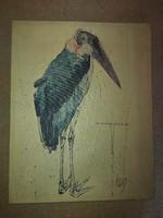 Fritz Rudolf Hug, Marabu (Bocsáss meg ezért, Szókratész!), 56x70, litográfia, vászonnyomat