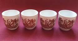 Angol barna jelenetes porcelán rövid italos pohár készlet 4db