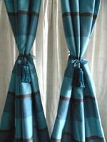 Türkiz zöld / türkiz kék, barna csíkos bélelt függöny pár