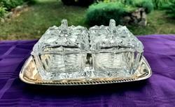 Ezüstözött üvegbetétes asztali szósz, vagy vajtartó