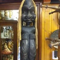 Afrikai Életnagyságú Fa Faragott Szobor,Fafaragás. 195 cm.