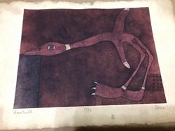 """Földi Péter (1949- ) Munkácsy díjas művész """"Útrakelő"""" 5/16 kis példányszám mérete:30 x 20 cm."""