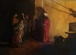 Nagyházi aukciósháznál szerepelt! Domenico Morelli (1826-1901) Krisztus gúnyolása olajfestmény!