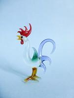 Muranoi üveg kakas,madár figura,szobor. Gyönyörű,színpompás darab!