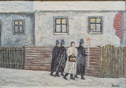 Tamási János - Betlehemesek 45 x 65 cm olaj, farost