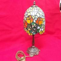 Réz Asztali Tiffany Jellegű Lámpa.