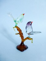 Muranoi üveg madárpár az ágon figura,szobor. Gyönyörű,színpompás darab!