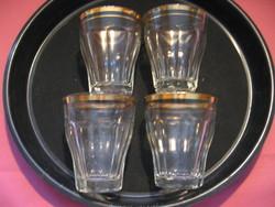 Retro arany szélű duplás poharak Salgótarján St 4 db egyben