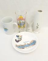 Balaton témájú Aquincum-i és jelzetlen porcelánok