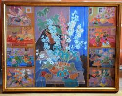LAKI Ida (1921-2015) festmény, olaj farost, 62 x 80 cm, jjl., Laki