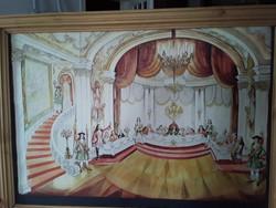Vogel Eric (1907-1996) Főúri palota festmény fakeretben 50 x 70 cm
