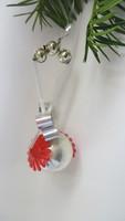 Üveg-fém-műanyag karácsonyfadísz virágos gömb