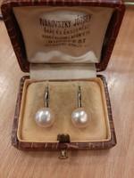 Ezüst valódi púder színű gyöngy fülbevaló patentzárral