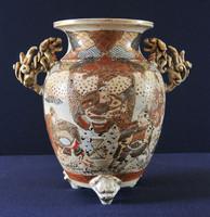 Antik Japán Satsuma kézzel festett váza