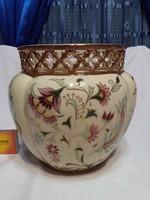 Zsolnay porcelán áttört szélű, nagy méretű kaspó - hibátlan
