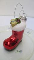 Üveg karácsonyfadísz,télapó csizmája