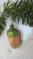 Régi karácsonyfadisz, makk, üvegből