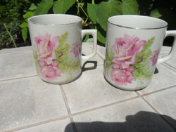 Antik Zsolnay rózsás csésze 2 db
