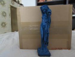 Akt szobor kék mázas gipszből