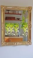 Antik, arany keretes, blondel rámás, gyönyörű tükör. 37 x 47 cm.
