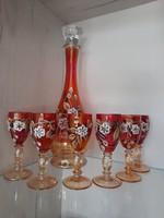 Bohemia kézzel festett likőrös készlet 6 pohár + kiöntő