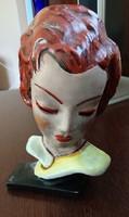 Art deco kerámia női fej falidísz.Mészáros 106 sorszám.
