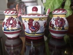 Deruta, olasz kézzel festett kerámia fűszertartók, vörös kakasos, rosso gallo majolika