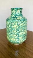 Tófej váza ritka zöld-sárga