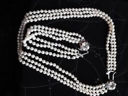 Igazgyöngy szett, 3 soros, tenyésztett gyöngy, 925ös ezüst, jelzett csattal, lánc 40cm, karlánc 18cm
