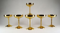 1F183 Aranyozott Famipa Prizren hat darabos pezsgős pohárkészlet
