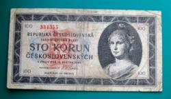 Csehszlovákia, 100 korun bankjegy - 1945