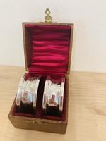 Ezüst  925 ös szalvétagyűrű pár dobozában