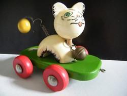Vintage gurulós macska játék fából